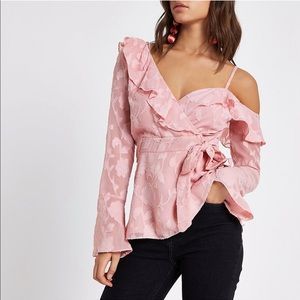 River Island Jacquard Cold Shoulder Wrap Blouse